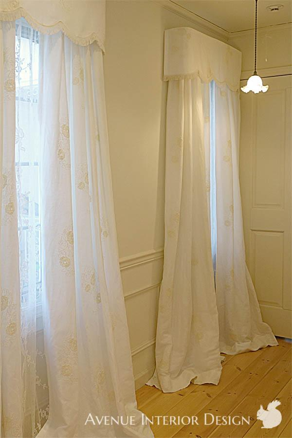 Embroidered Linen Curtains and Nottingham Lace Panels