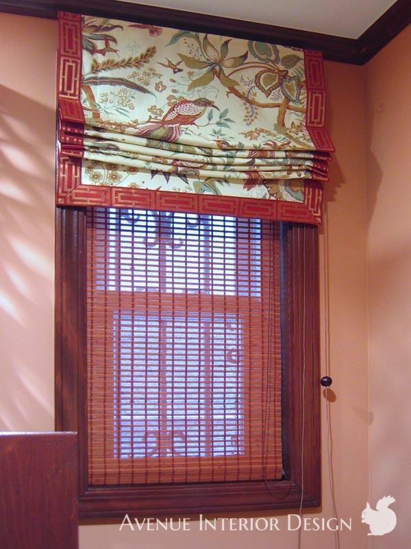 Chinoiserie Roman Blinds<br>シノワズリスタイル<br>ファブリックと竹のローマンシェード