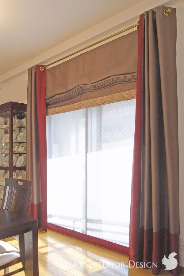 Eyelet Curtains and Roman Blind<br>ハトメカーテンとダブルのプレーンシェード